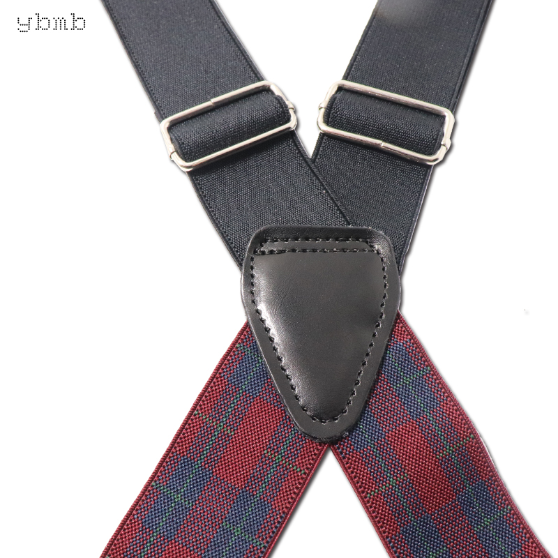 YBMB Fashion Shirt Plaid Suspenders Camouflage Print Elastic Tactical Belt X Shape 4 Clips in Men 39 s Suspenders from Apparel Accessories