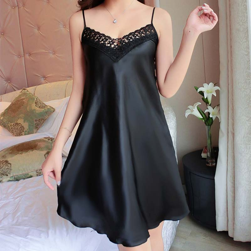 <font><b>Sexy</b></font> <font><b>Night</b></font> <font><b>Dress</b></font> For Women Deep V Lace Sleepwear Lingerie Silk Nightgown Sleeveless Nightdress Nightwear Summer Homewear #D image