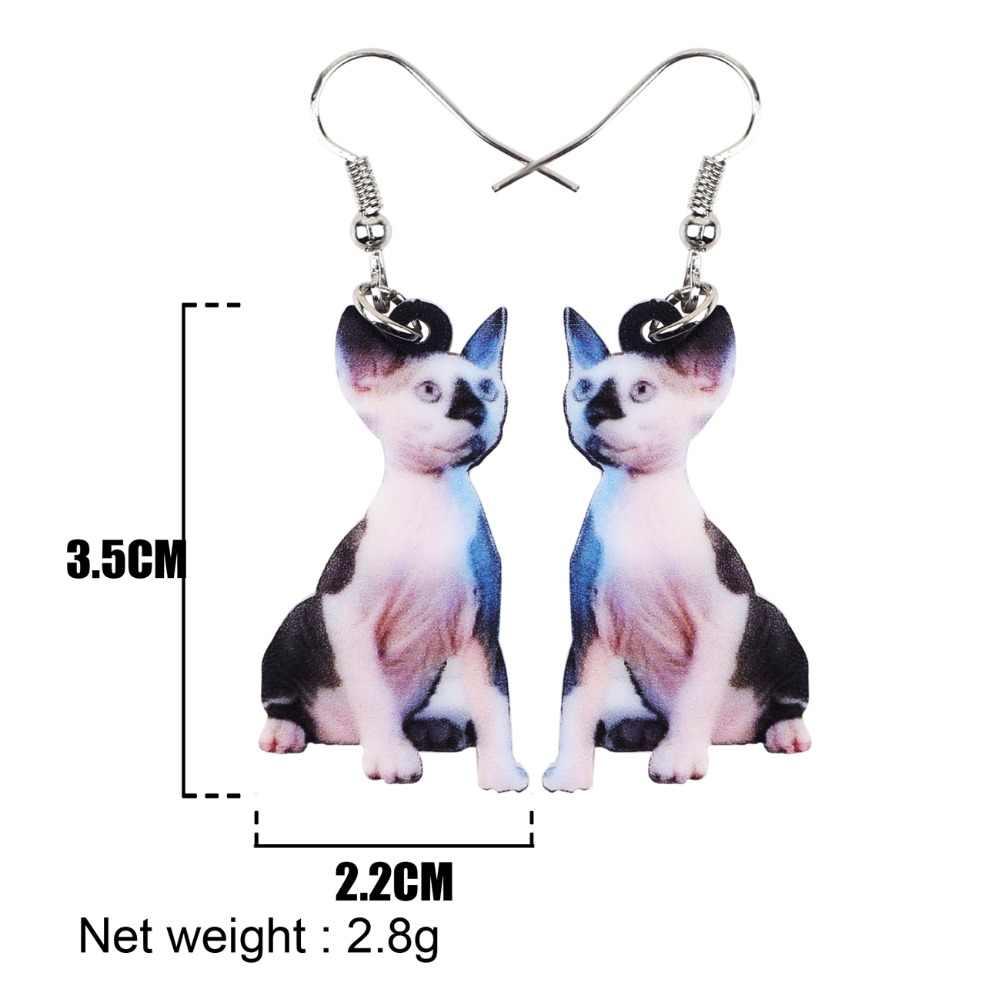 Bonsny acrylique nouveauté canadien sans poils Sphynx chats boucles d'oreilles longue pendaison bijoux Anime pour femmes filles dames mode animaux