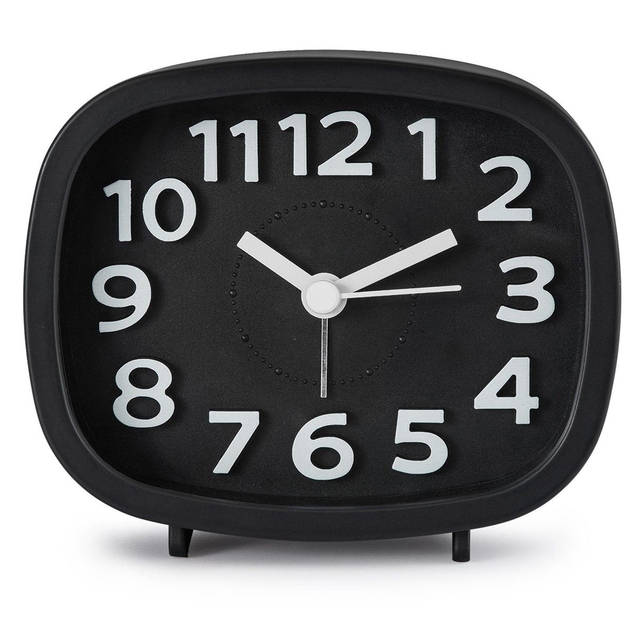 HOT-Non Ticking Alarm Clock, Battery Powered Bedside Clock Silent Simple to Set Travel Clocks with Nightlight