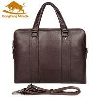 Men Briefcase Genuine Leather Totes Bag for Documents Waterproof Men's Shoulder Laptop Bag Male Cow Skin Business Messenger Bag