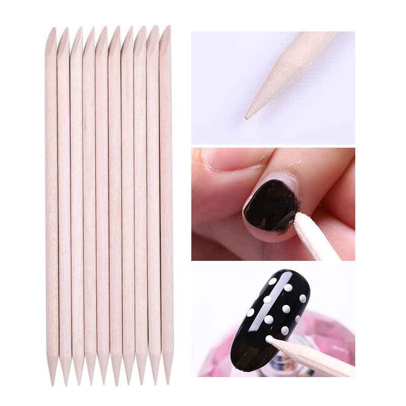 10 Pcs Orange Wood Sticks Cuticle Pusher Remover Nails Dotting Pen Nail Art Design Manicuring Pedicure Care Nail Accessories