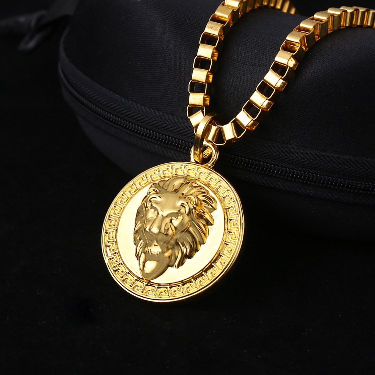 Wholesale hiphop golden lion pendant necklace 24k gold plated lion men women gold plated 2pac pendants bling christmas jewelry gifts crystal necklaces hip hop charm franco 315 inch chains aloadofball Image collections