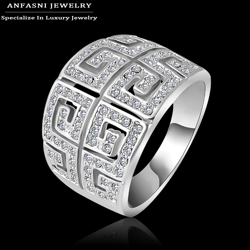 ANFASNI Hot Sale Classic Ring Silver Color Ring Wide Rings For Women  Made With Genuine SWA Stellux Austrian Crystal Ri-HQ1019-B