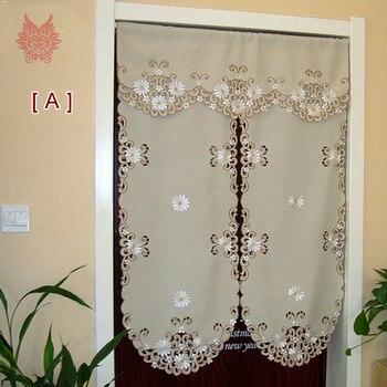 В пасторальном стиле хаки белая Цветочная вышивка готовой двери занавес наполовину занавес Кофе украшение дома раздел занавес sp3483
