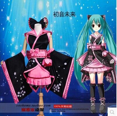 <font><b>New</b></font> <font><b>VOCALOID</b></font> Cos VFamily Cosplay <font><b>Hatsune</b></font> <font><b>Miku</b></font> Halloween <font><b>Sakura</b></font> Kimono Daily Kimono Full Set 4in1(Top+Skirts+Bow-knot+Belt)