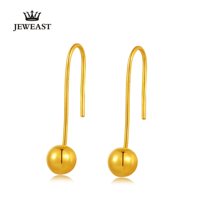 24k Pure Gold Earrings Real 999 Solid Bead Women Yellow Exquisite ...