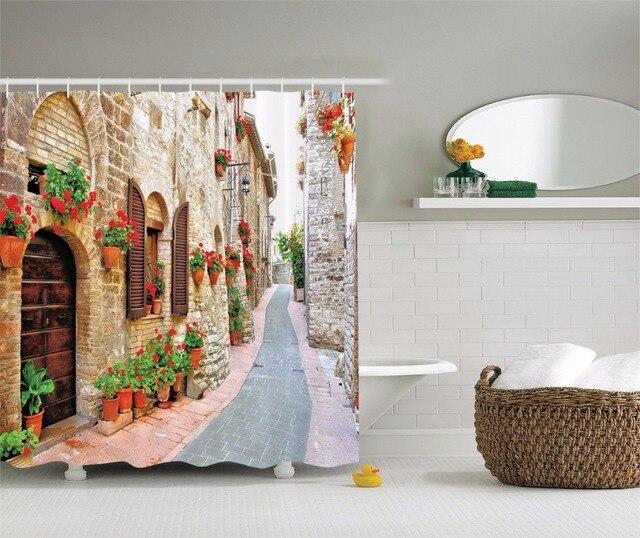 Hoogwaardige Kunst Douchegordijnen Italiaanse straat retro ...