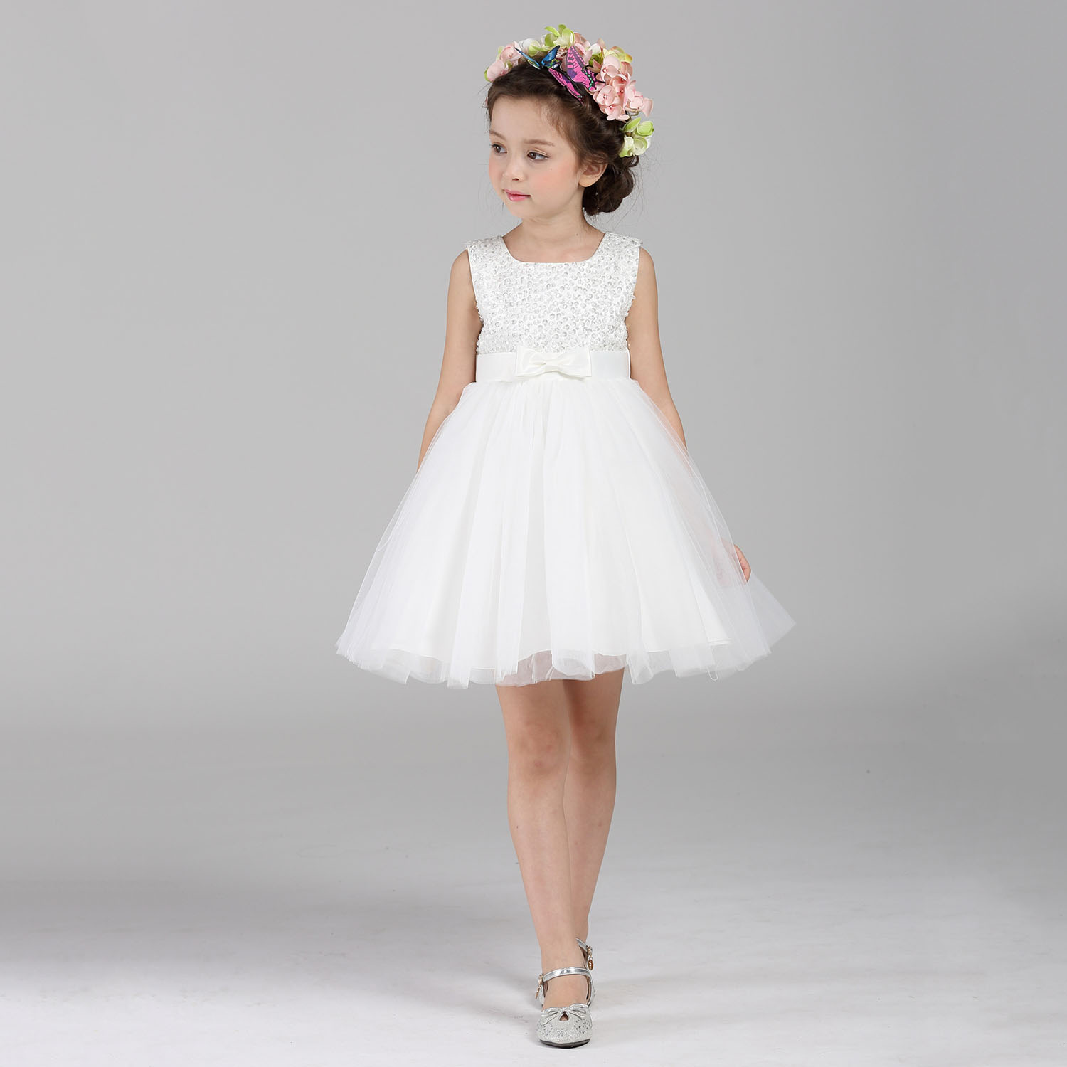 ABWE Best Sale DMfgd White Flowers Girls Dress High Quality Lace Bow Girl Dresses For Wedding Kids Girl Clothes New Birthday P high quality colorful flowers and girl pattern removeable wall stickers