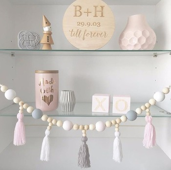 D INS Nordic Style Kids Decoration Wood Bead String with tassel Wall Hanging Home Decor Take Pictures Props Home Decoration