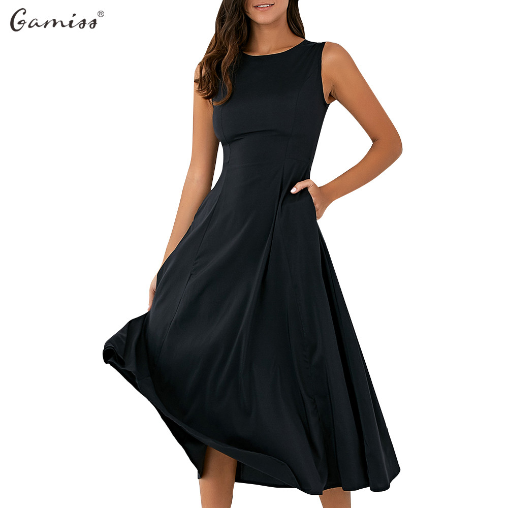 Black dress loose - Gamiss 2017 Women Black Party Dresses Casual Round Neck Loose Fitting Sleeveless Midi Dress A