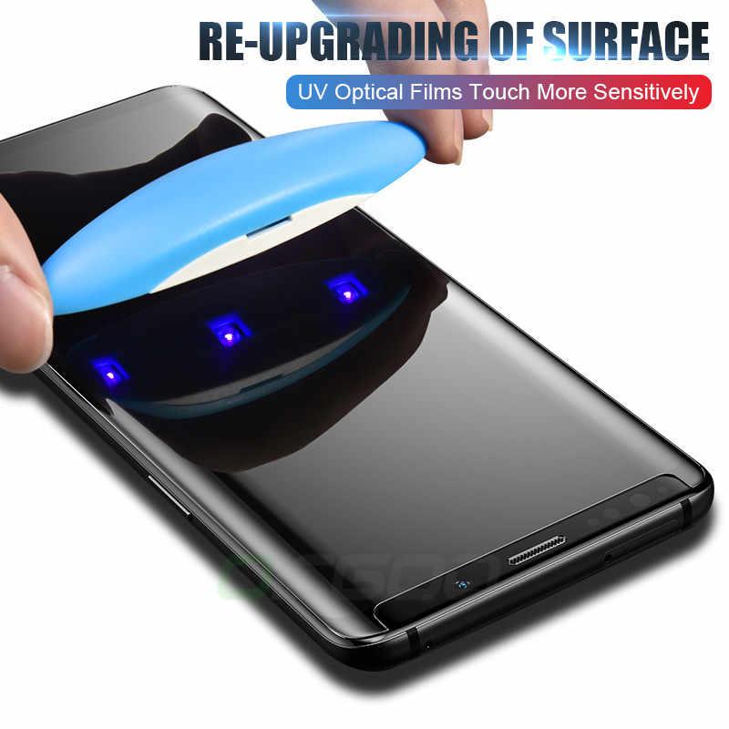 الأشعة فوق البنفسجية الزجاج المقسى لسامسونج غالاكسي S10 S9 S8 زائد نوت 9 8 100D واقي الشاشة السائل الكامل لسامسونج S8 S9 S7 حافة الزجاج