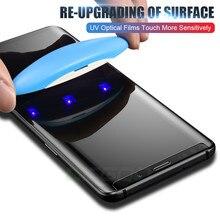 UV กระจกนิรภัยสำหรับ Samsung Galaxy S10 S9 S8 Plus หมายเหตุ 9 8 100D Full Liquid Screen Protector สำหรับ Samsung s8 S9 S7 ขอบกระจก