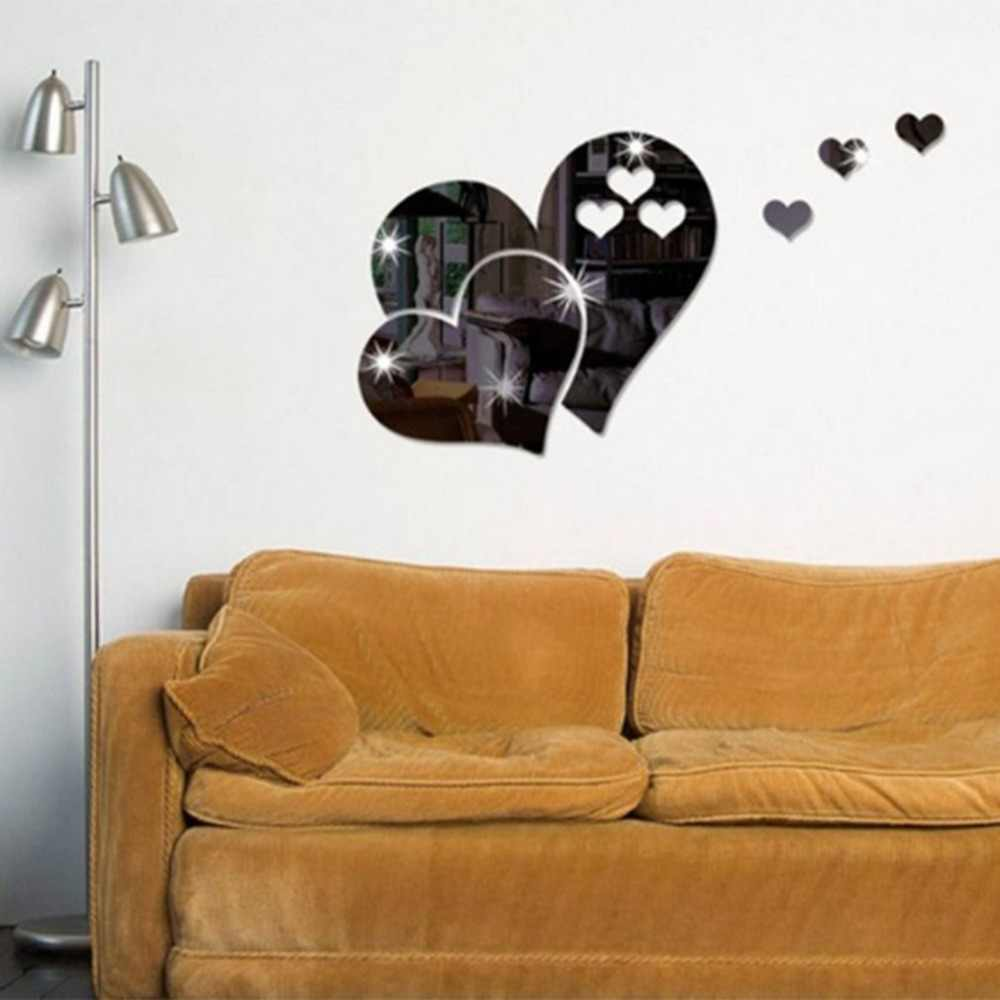 3D Mirror Love Hearts Wall Sticker Decal DIY Wall Stickers for Living Room Modern Style Home Room Art Mural Decor Sticker