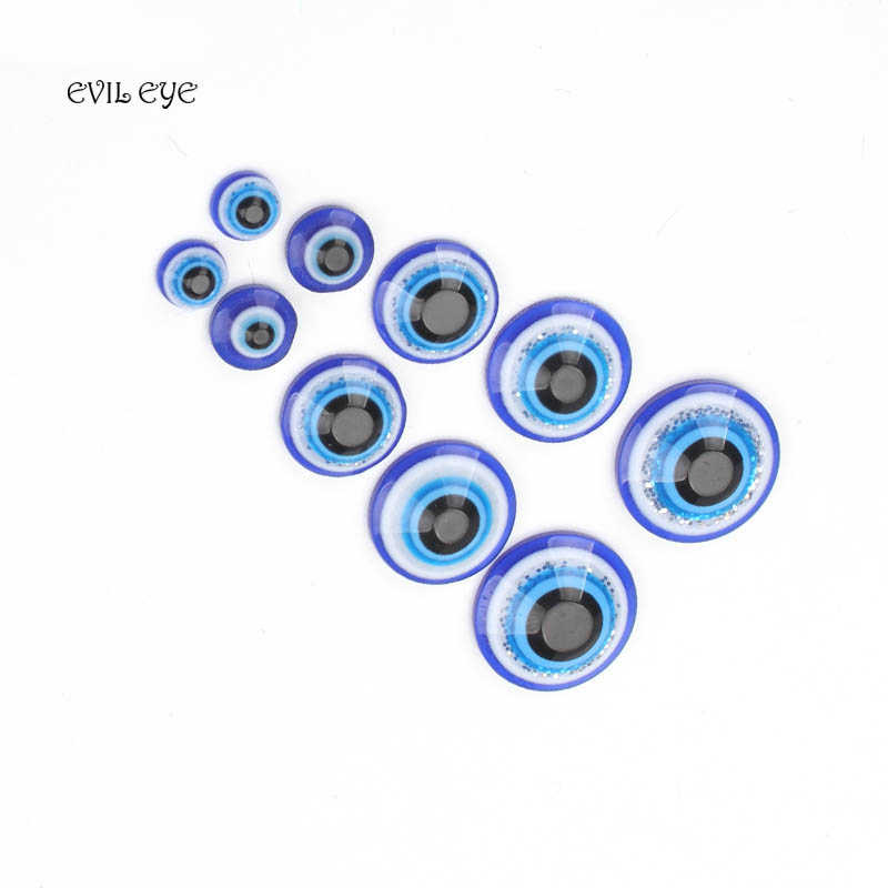 50pcs/lot Evil Eye Amulet Charm Beads Blue Crystal Beads Decal Accessories For DIY Jewelry Making Specification 6/8/12/14/16mm
