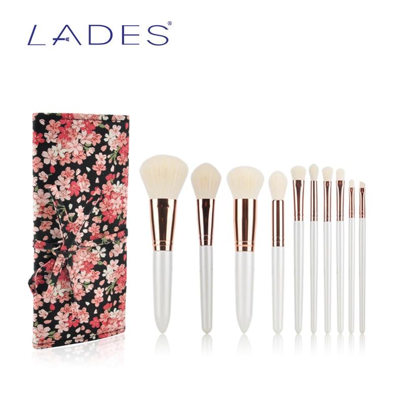 LADES Professional 10Pcs Makeup Brush Set Tools Cosmetic Brush Powder Foundation Eyeshadow Eyeliner Lip Brush Kit With Case luminarc салатник luminarc nordic epona 18 см