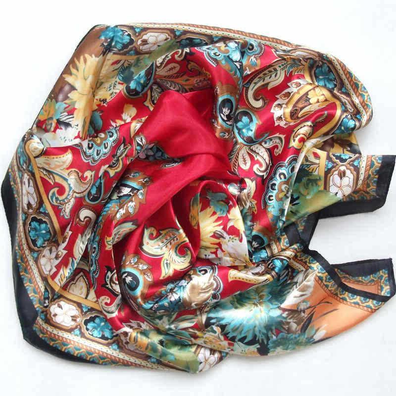 Дизайн женский Шелковый большой квадратный шелковый шарф из полиэстера, 90*90 см горячая Распродажа атласный шарф с принтом для весны, лета, осени, зимы - Цвет: red
