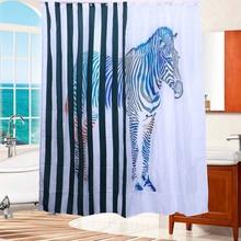Waterproof Resistant Bathroom Drape Shower Curtain Zebra Printed Blinds Bath For Motels Home
