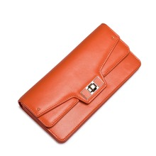 2016 New Style Women's Genuine Cowhide Leather Card Holder Long Wallet Ladies Small Purse Multilayer Clutch