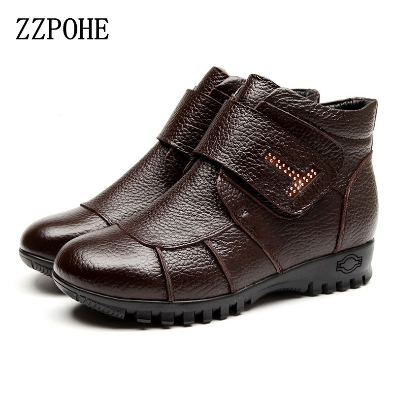 ZZPOHE Winter New Fashion Women Shoes Woman Genuine Leather Flat Comfortable Boots Warm Snow Soft bottom Female Plus size Boots large yards soft bottom flat ballerina shoes retro embroidery women shoes comfortable soft bottom casual shoes female ayakkab