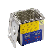 Free DHL 1pc 2L 60W 110/220V Stainless Steel Ultrasonic Cleaner + washing basket/Knob Control Heating Ultrasonic Washing Machine