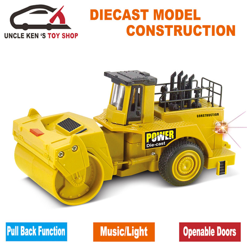 Diecast Asfalt Compactor Skale Model, Mini Road Roller, Glat Tromle Roller, Metal Toy Cars Med Træk Tilbage Funktion / Musik / Light