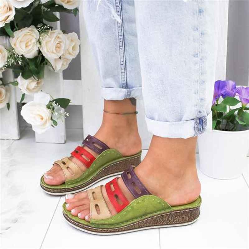 Oeak Thả Vận Chuyển Mùa Hè Giày Sandal Nữ Khâu Giày Sandal Nữ Hở Mũi Giày Đế Nêm Trượt Bãi Biển Người Phụ Nữ Giày