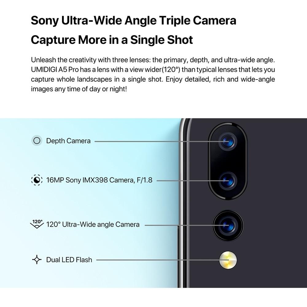 Global Version UMIDIGI A5 PRO Android 9.0 Octa Core Mobile Phone 6.3' FHD+ 16MP Triple Camera 4150mAh 4GB RAM 32G ROM Smartphone