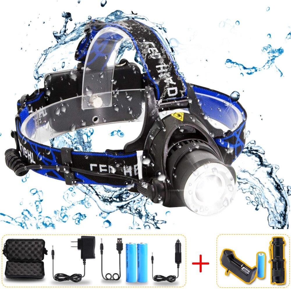 цена на 10000Lumens Headlight LED headlamp T6/L2/V6 Zoomable LED Lamp Rechargeable LED Head Light+2x18650 Battery+AC/Car Charger
