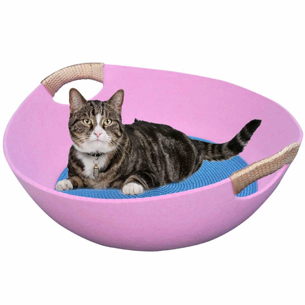Prático Pet Casa Sentiu Coelho Quente Mat Ninho Camas de Gato Rodada Cesta Do Cão Portátil Saco de Dormir Almofada