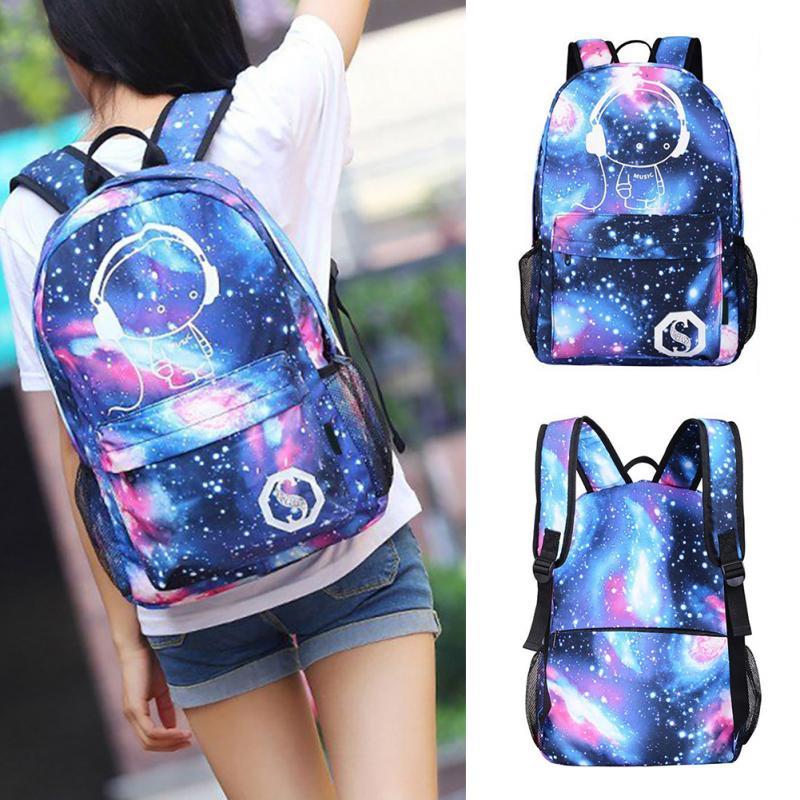 Adolescente popular meninas galaxy noctilucent lona mochila carregador usb anti-roubo bloqueio céu estrelado universo espaço saco de escola