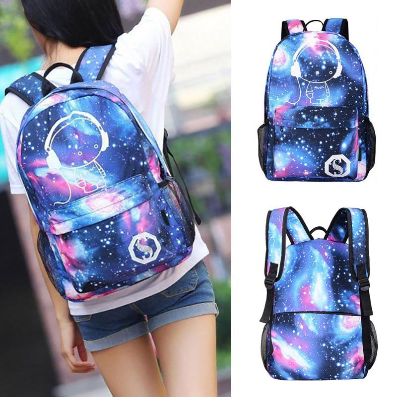 Popular Teen Girls Galaxy Noctilucent Canvas Backpack USB Charger Anti-Theft Lock Starry Sky Universe Space School Bag