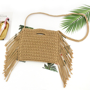 Línea de algodón borla mano primera tejido Crossbody bolsa mujeres bolso playa bolso