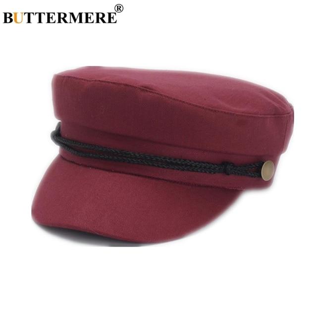 BUTTERMERE Brand Women Military Hat Burgundy Cotton Female Newsboy Hat  Spring Summer Baker Boy Hat Ladies 31631b8599