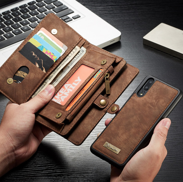 brand new 97a61 5808c US $15.99 |CaseMe Multi function Luxury Leather Phone Magnetic Case Cover  For HUAWEI P20 Wallet Card Holder For huawei p20 pro Case Fundas-in Wallet  ...