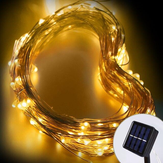 10 М Свет Шнура СИД С Солнечный СВЕТ Фея Огни Наружного Освещения Высокое Яркое Водонепроницаемый Медный Провод Для Рождественские Украшения