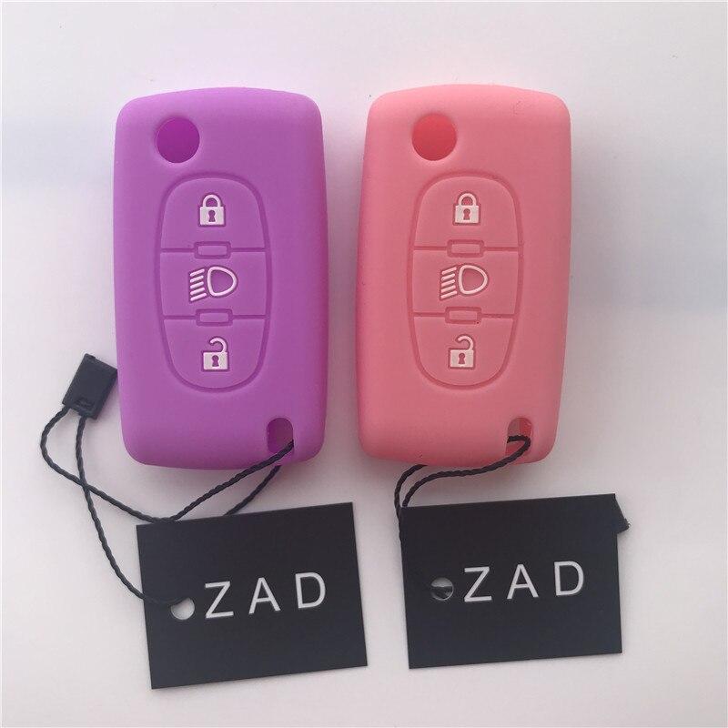 Силиконовый чехол для автомобильного ключа ZAD, набор держателей для Citroen Picasso C2 C4 C5 C6, чехол для ключа с 3 кнопками
