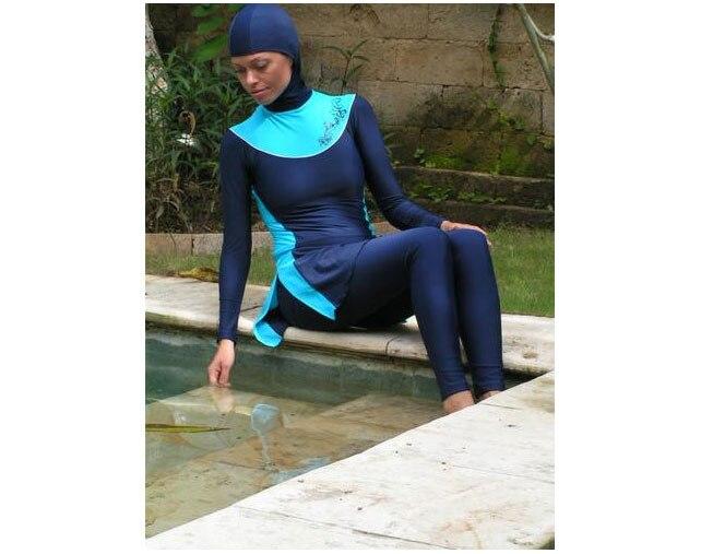 Мусульманские купальники Исламская Купальные костюмы пляж купальники для женщин 4 шт./лот DHL - Цвет: Синий