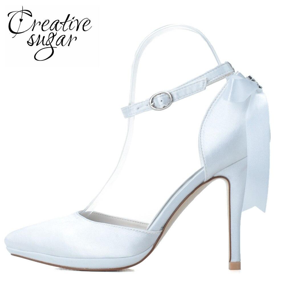 Creativesugar Fashion high heel pointed toe D'orsay woman shoes ankle strap ribbon bow wedding party prom pumps white royal blue creativesugar fashion high heel pointed