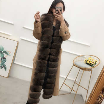 Women cardigans plus long wool coat with long real fox fur detachable threshold female overcoat spring antumn winter outerwear - DISCOUNT ITEM  0% OFF All Category