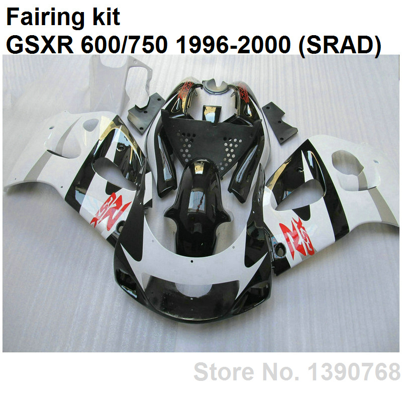 ABS plastic fairings for Suzuki GSXR750 96 97 98 99 00 white black body work parts fairing kit GSXR600 1996-2000 LN17