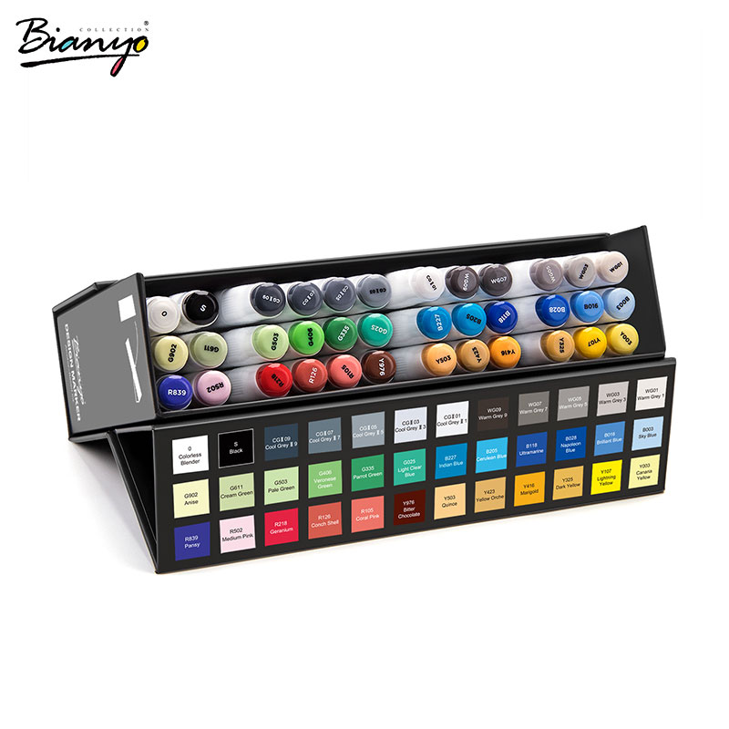 Bianyo 36 Colors Dual Tip Art Marker Sets School Office Artist Supplies Drawing Painting Art Marker Pens Twin Tip Brush Markers promotion touchfive 80 color art marker set fatty alcoholic dual headed artist sketch markers pen student standard