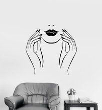 Vinyl wall decal beauty salon nail studio sticker, fashion girl home bedroom decoration sticker  NH07