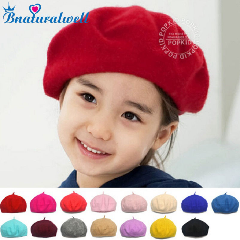 Bnaturalwell Børn Spring Beret Little Girls Hatte Dome Cap Girl Fashion Caps Baby Girl Fur Berets Multi Candy Color Gift H112