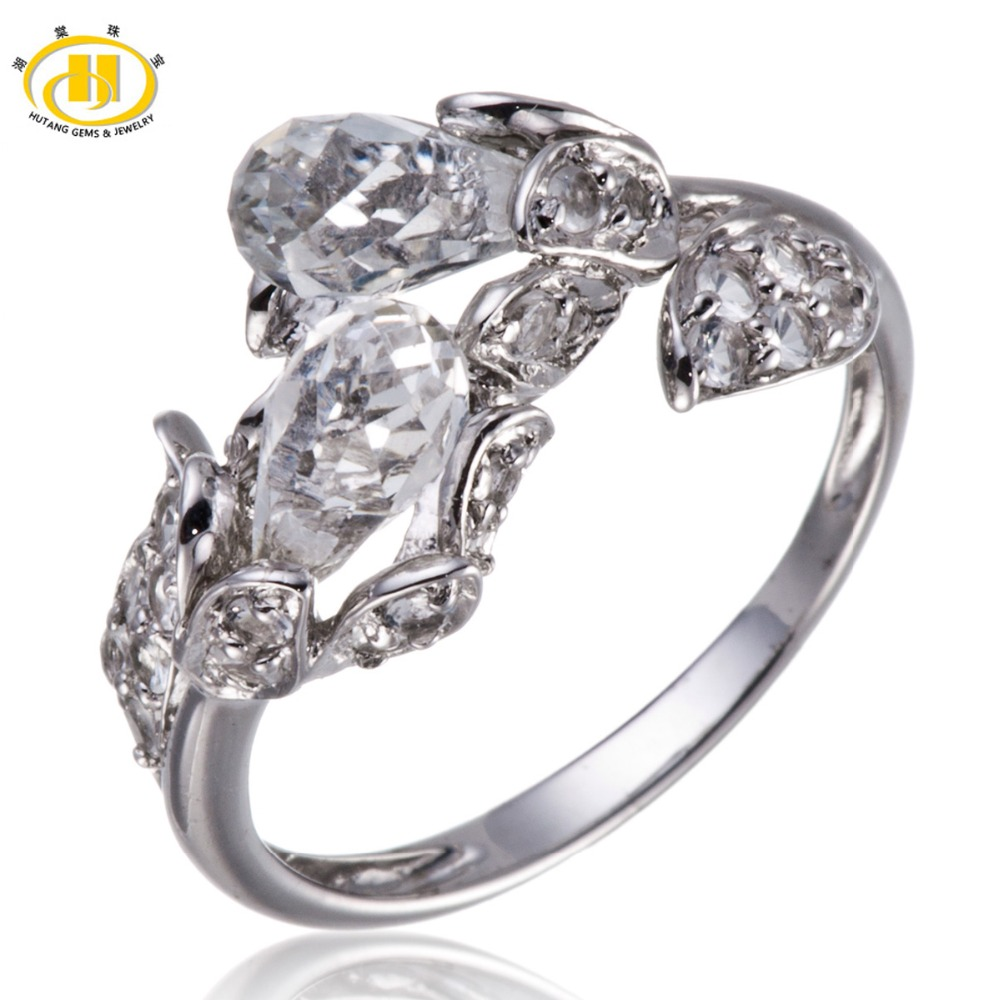Hutang Exquisite White Topaz Solid 925 Sterling Silver Flower Ring Fine Jewelry Valentine s day