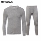 THREEGUN 100% Cotton Winter Round Neck Warm Long Johns Set For Men Ultra-Soft Solid Color Thin Thermal Underwear Men's Pajamas