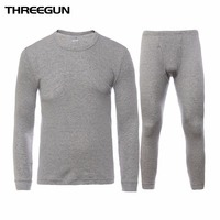 THREEGUN 100 Cotton Winter Round Neck Warm Long Johns Set For Men Ultra Soft Solid Color