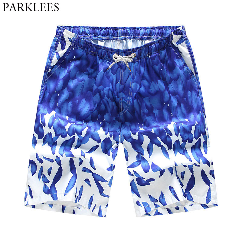 Mens Summer Hawaiian Beach   Shorts   2018 Fashion Blue Feather Print Men Qucik Dry   Board     Shorts   Casual Pocket Seaside Beachwear 3XL