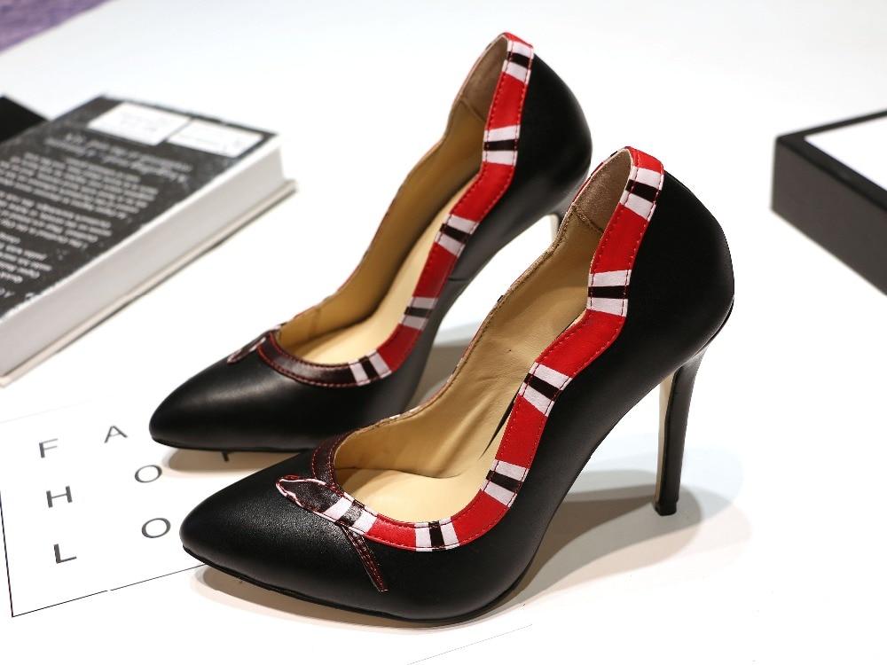 Pompes Rouge Stiletto Talons as Sur Sexy Chaussures Design Chaussure Picture Picture Robe Femme Hauts Glissement As Cuir Femmes Serpent En Frontière Noir Marque À aXw7BSSz6