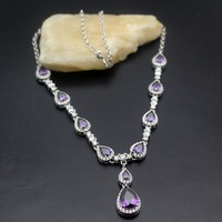 Women Choker Jewelry Charms GIFT 4 Colors Choice Shiny Purple Red Yellow Green Drops 925 Sterling Silver Pendant Necklace 46cm